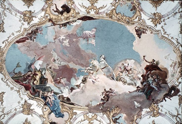 A section of the ceiling painted by Tiepolo in the Bishop's Palace in Wurtzburg.: