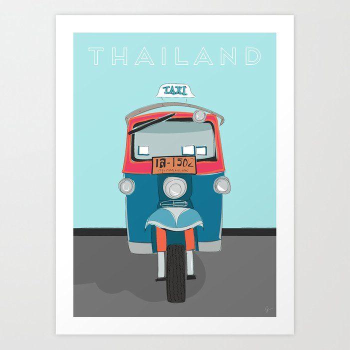 Thailand Tuk Tuk Taxi Travel Poster Art Print By Lyman Creative Co Posters Art Prints Poster Prints Poster Art