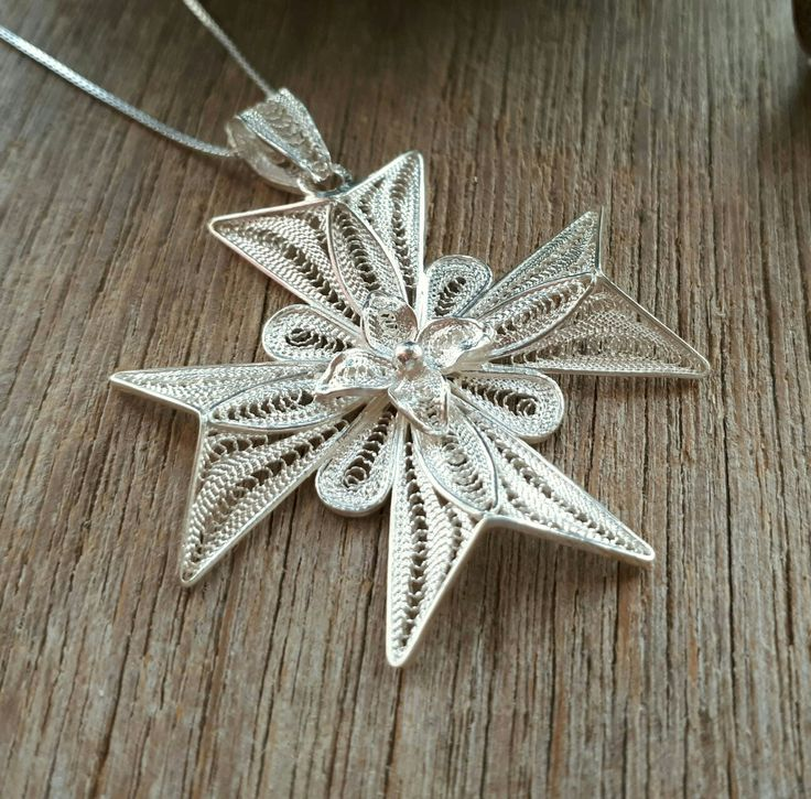 Handmade Silver Filigree Maltese Cross Pendant