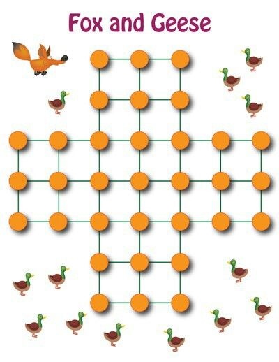 REGOLE: 2 giocatori.  - 13 pedine bianche (le Oche) si posizionano sulle ultime 3 file; - 1 pedina nera, o rossa (la Volpe)si posiziona nel punto centrale. Le pedine si posizionano negli incroci e non nelle caselle. L'obiettivo del gioco è differente per i due partecipanti: - Il Bianco ha l'obiettivo di immobilizzare la Volpe, impedendole qualsiasi mossa; - Il Nero (la Volpe) ha l'obiettivo di catturare tutte le pedine nemiche o tante quante sono necessarie per rendere l'avversario…