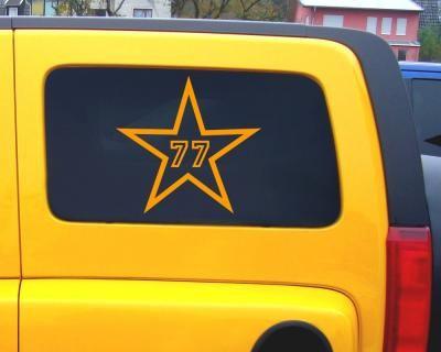 2 x Startnummern Star Outline Aufkleber. Startnummern Star Outline Aufkleber in einer Breite ab 15cm