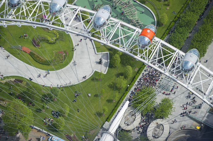 Looking down onto the London Eye and the newly laid out Jubilee gardens.  21 Dizzying Aerial Photos Of London