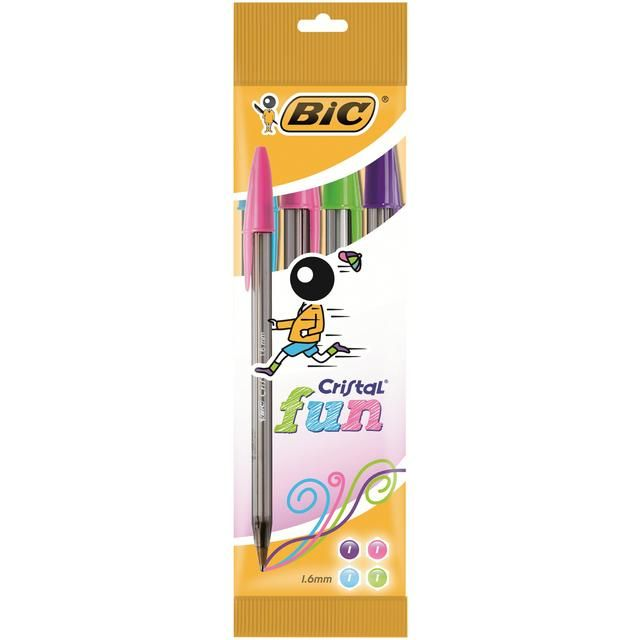 BiC Cristal Fun 4 per pack from Ocado