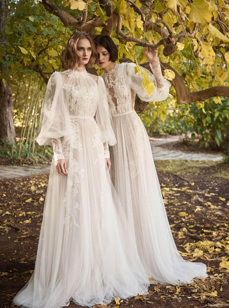 Costarellos Bridal Fall 2018 CollectionBR18 22: Mock Neck Line, Long Ethereal Tu…