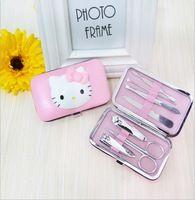 7pcs / lot de manicura del acero inoxidable de pedicura Set Tijeras de uñas Nail Clippers Kit rosa lindo al por mayor Cuidado de uñas