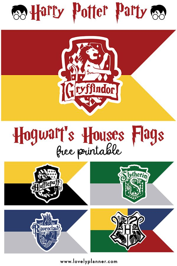 Free Printable Hogwart's House Flags – Harry Potter Party