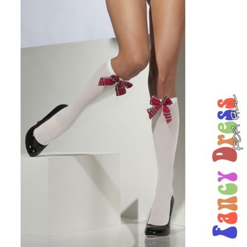 White School Girl Knee High Socks with Tartain Bow One Size Womens Hosiery | eBay
