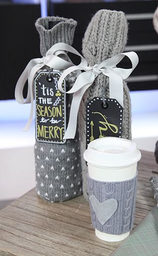 Sweater Sleeve Wine Bag #DIY #Gift #Crafts