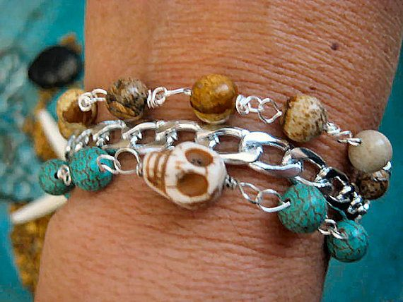 "Boho Chic Stacking Chunky Silver Chain Jasper Turquoise Skull Bracelet ....""FREE SHIPPING""    by LeatherDiva, $14.00"