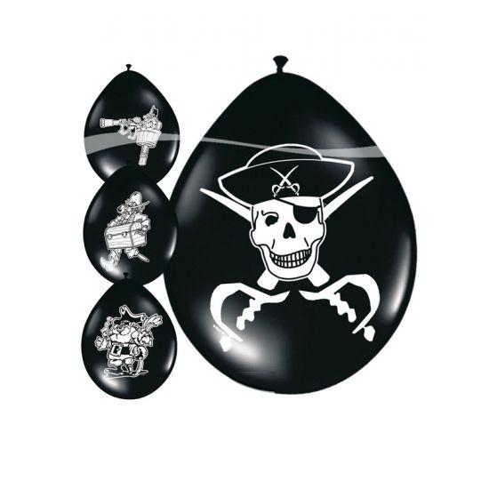 8 stuks piraten ballonnen voor een echt piratenfeestje. Formaat piraten ballonnen is 25 cm. Piraten ballonnen versiering en feestartikelen leveren wij snel uit voorraad. U ontvangt zes verschillende piraten ballonnen.
