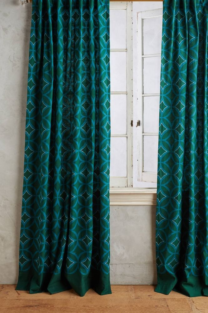 """NEW ANTHROPOLOGIE TEAL CONCAVE DIAMONDS CURTAIN WINDOW PANEL 50"""" X 96"""" #Anthropologie"""