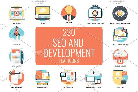 230 Seo And Web Development Icons Web Development Web Development Design Web Design