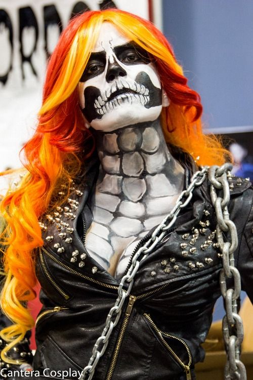 Ghost Rider cosplay I dig the ultra detailed face paint layout going down
