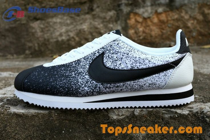 Hot Sell Nike Cortez Breathable Girls Black White Jogging Shoes ...
