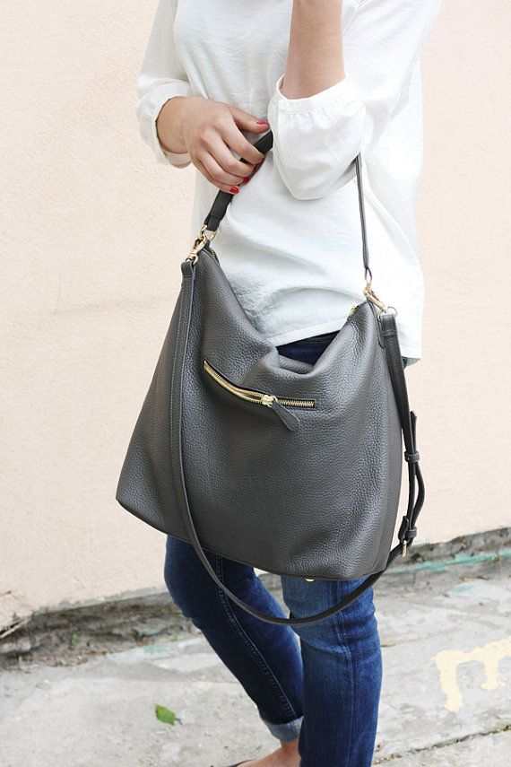 NELA Gray Leather Hobo Bag Medium Shoulder Bag by MISHKAbags