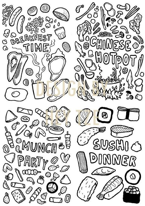 Foodie Colouring Page Sushi Colouring Page Fast Food Food Coloring Pages Coloring Pages Chinese Fast Food