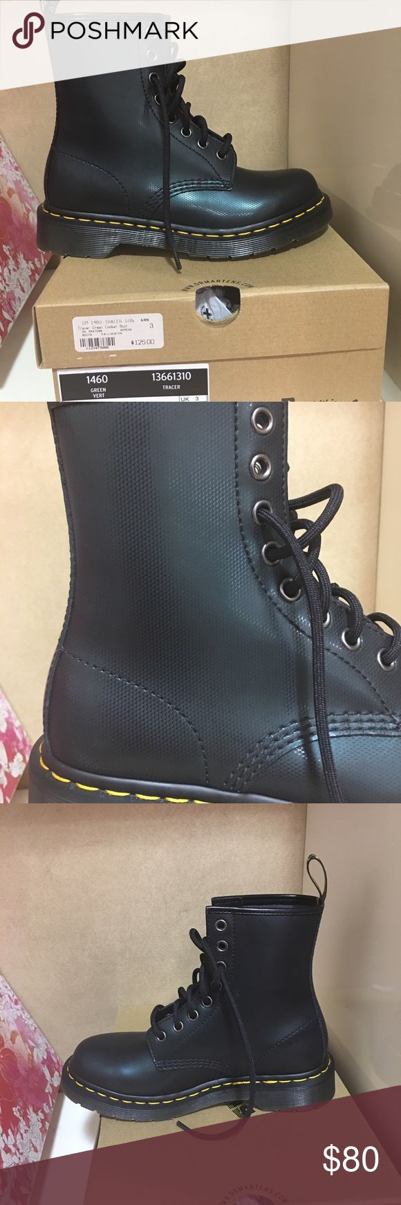 Dr Martens 1460 Tracer 13661310 Green Vert Leather Dr. Martens 1460 Tracer 13661310 Green Vert Leather Boots Medium (B, M) Women Dr. Martens 1460 Tracer 13661310 Green Vert Leather Upper Heel Loop 8 Eyelet Closure Goodyear Welted Product Air Cushion Sole Width: Medium Dr. Martins Shoes Combat & Moto Boots