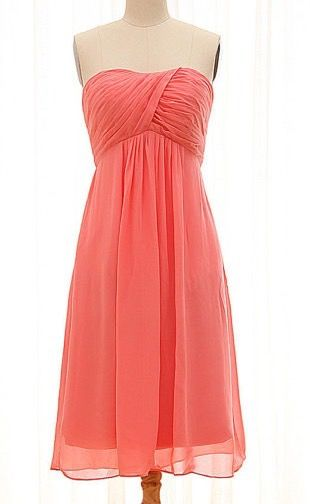 Sleeveless coral color Bridesmaid dresses