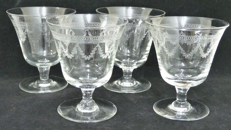 Antique Wine Glasses x 4, Swag and Elliptical Circle Patterns, Clear, Etched Glass, Engraved, Barware, English Wine Glass, Antique Glasses by KitschandCollectable on Etsy