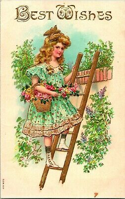 Pre 1905 Art Nouveau Style Young Lady Posed by Wall Antique German Photo Postcard