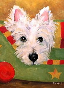 ACEO Westie Print West Highland Terrier Painting Christmas Pose Dog Art Randall | eBay