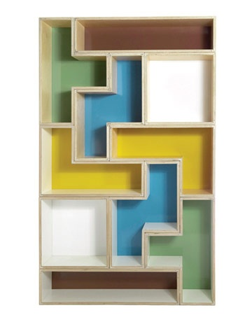 Tetrad shelving inspired by the classic video game for Tetris bookshelf