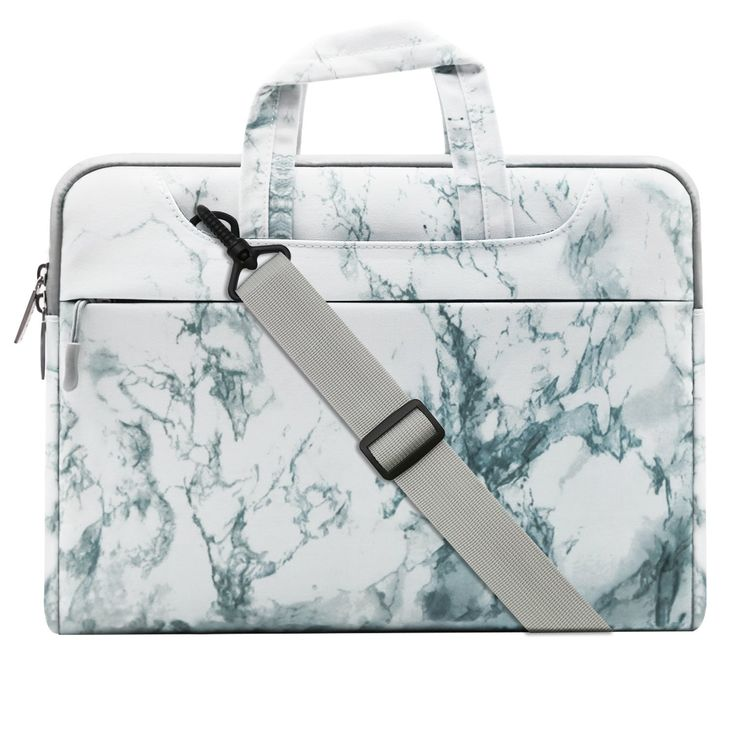 MOSISO Canvas Marble Pattern Style Laptop Shoulder Bag Case Cover Briefcase for 13-13.3 Inch MacBook Pro, MacBook Air, Surface Book, Notebook Computer, White