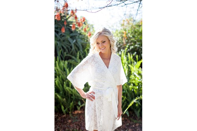 Ivory lace robe with personalised embroidery by Tesi