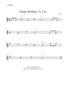easy violin  sheet music, happy birthday;) maybe I can play this for caylee lol