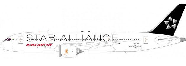 "1/200 JC Wings Air India ""Star Alliance"" Boeing 787-8 Dreamliner"