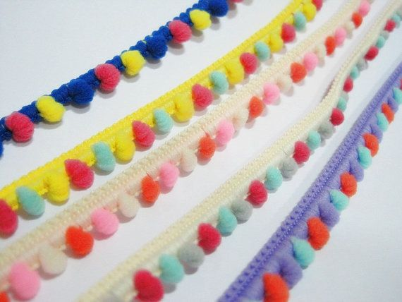 5 Yards Multicolored pom pom trim pom size 1.4 cm by ichimylove
