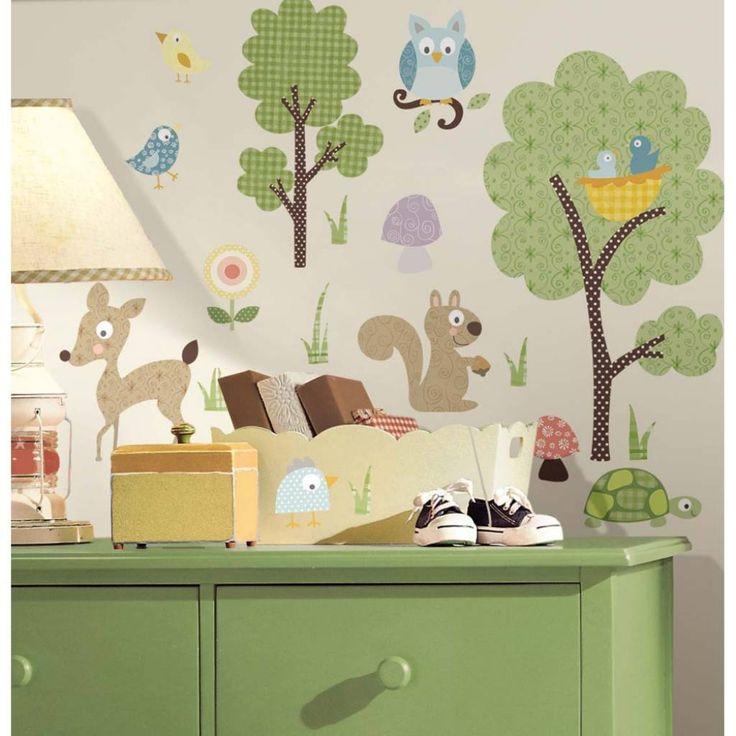 Wandstickers, Meubeldecoratie. Dieren in het bos babykamer