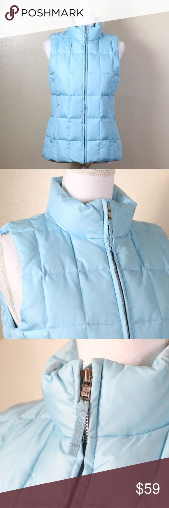 GAP Sky Blue Puffer Vest GAP puffer vest in Size S. Materials listed in pictures. Ask any questions you may have before buying! Offers welcome through the offer button! GAP Jackets & Coats Vests