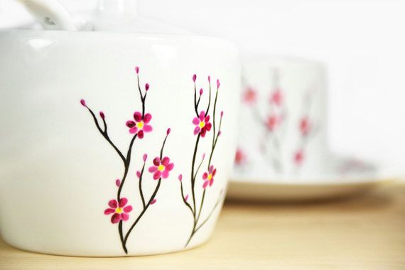 painted pottery ideas | Hand Painted Ceramic Sugar Bowl with spoon Cherry Tree design Modern ...