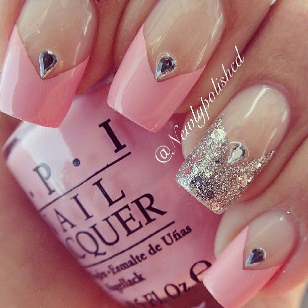 Pink V French tips with silver accent nail and tear drop rhinestones  #elegant #bridal #nail design #wedding