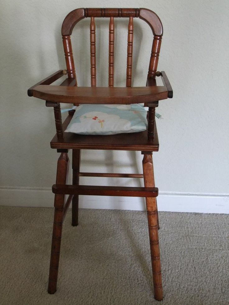 Vintage Wooden Toy Baby High Chair