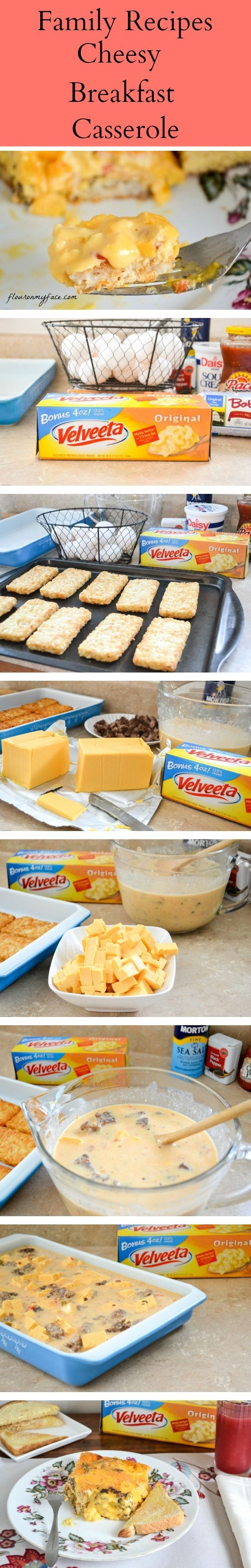 Ooey Gooey run down your chin Cheesy Breakfast Casserole http://flouronmyface.com