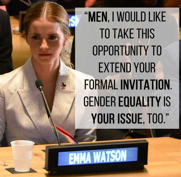 Everyone should watch this speech. It is empowering and moving and forces the issue of gender inequality, an issue that is warped by the media. She explains the true purpose of feminism and calls us to action, all of us, not only women.