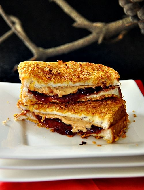cornflake crusted grilled peanut butter and jam sandwiches. We always grill our PB but this is going to be awesome!