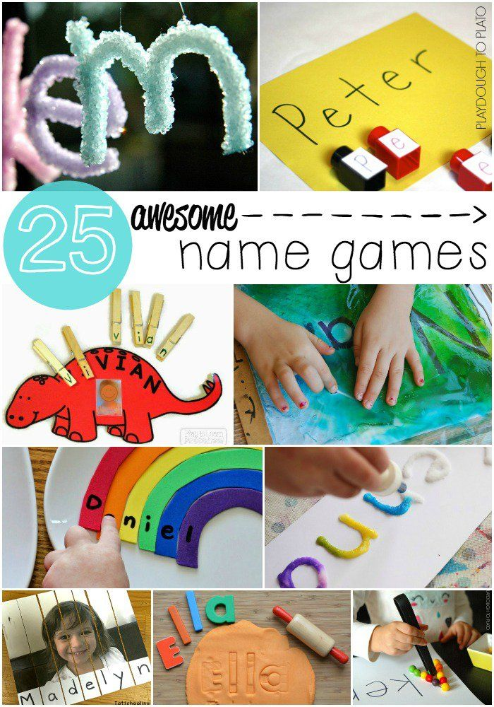 25 Awesome Name Games for Kids. So many great ideas in this roundup! Name puzzles, fizzy names, rainbow names and more.
