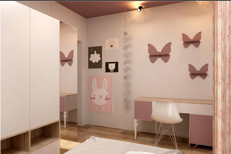 #interiordesign #cyan #bedroom #bed #whitesheets#beige #shelves #desk #cyansheets #inteiordesign #beige #wood #deco #wallprint #butterflies #closets  #grey #white #palepink #littlegirlroom #desk  #deskchiar #light #palepinkcurtains