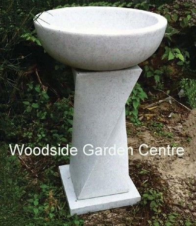 Enigma Marble Resin Contemporary Granite Bird Bath | Woodside Garden Centre | Pots to Inspire