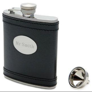Banded Black Leather Hip Flask 7oz