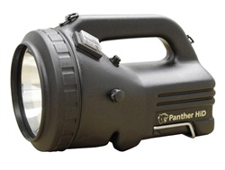 Nightsearcher Panther HiD Searchlight. The rechargeable PANTHER HiD has all the benefits of the normal PANTHER, but in addition, offers the latest technology of High Intensity Discharge Xenon lighting. Unlike conventional filament lamps, with HiD Xenon, the light is created by an arc of gas in a small glass sphere, giving over 5 times more light output than our regular #PANTHER.  Price: £402.82 #Torches, #Flashlights, #Torch, #Searchlight, #PowerfullTorches -