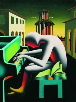 Trying to Score by Mark Kostabi, 2007, 80 x 60 cm | FerrarinArte