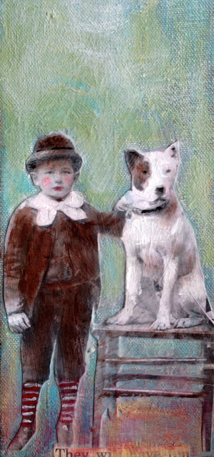 Boy and his dog mixed media vintage inspired child by MaudstarrArt on Etsy