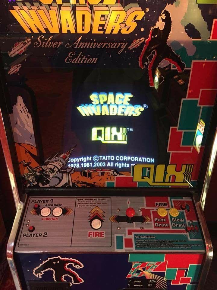 Space Invaders And Qix Arcade Cabinet Arcade Games Arcade Atari Video Games