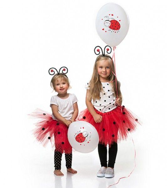 Roter Tüll-Rock mit schwarzen Punkte-Bommeln - verkleiden Sie Ihr Kind als Marienkäfer! Taillenumfang: ca. 50 cm.