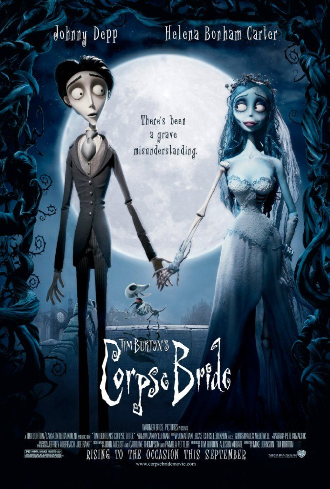Directed by Tim Burton, Mike Johnson.  With Johnny Depp, Helena Bonham Carter, Emily Watson, Tracey Ullman. When a shy groom practices his wedding vows in the inadvertent presence of a deceased young woman, she rises from the grave assuming he has married her.