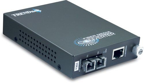 TRENDnet Intelligent 1000Base-T to 1000Base-LX/SX Single Mode SC Fiber Converter (20KM, 12.4Miles) by TRENDnet. Save 61 Off!. $128.99. The TFC-1000S20 Intelligent Fiber Converter works with the TFC-1600 chassis system or as a standalone unit. This converter is a Single Mode SC-Type fiber converter that supports SNMP and spans distances up to 20km (12.4 miles). Ports include 1 x 1000Base-T (RJ-45) port and 1 x 1000Base-LX (SC-Type) port.